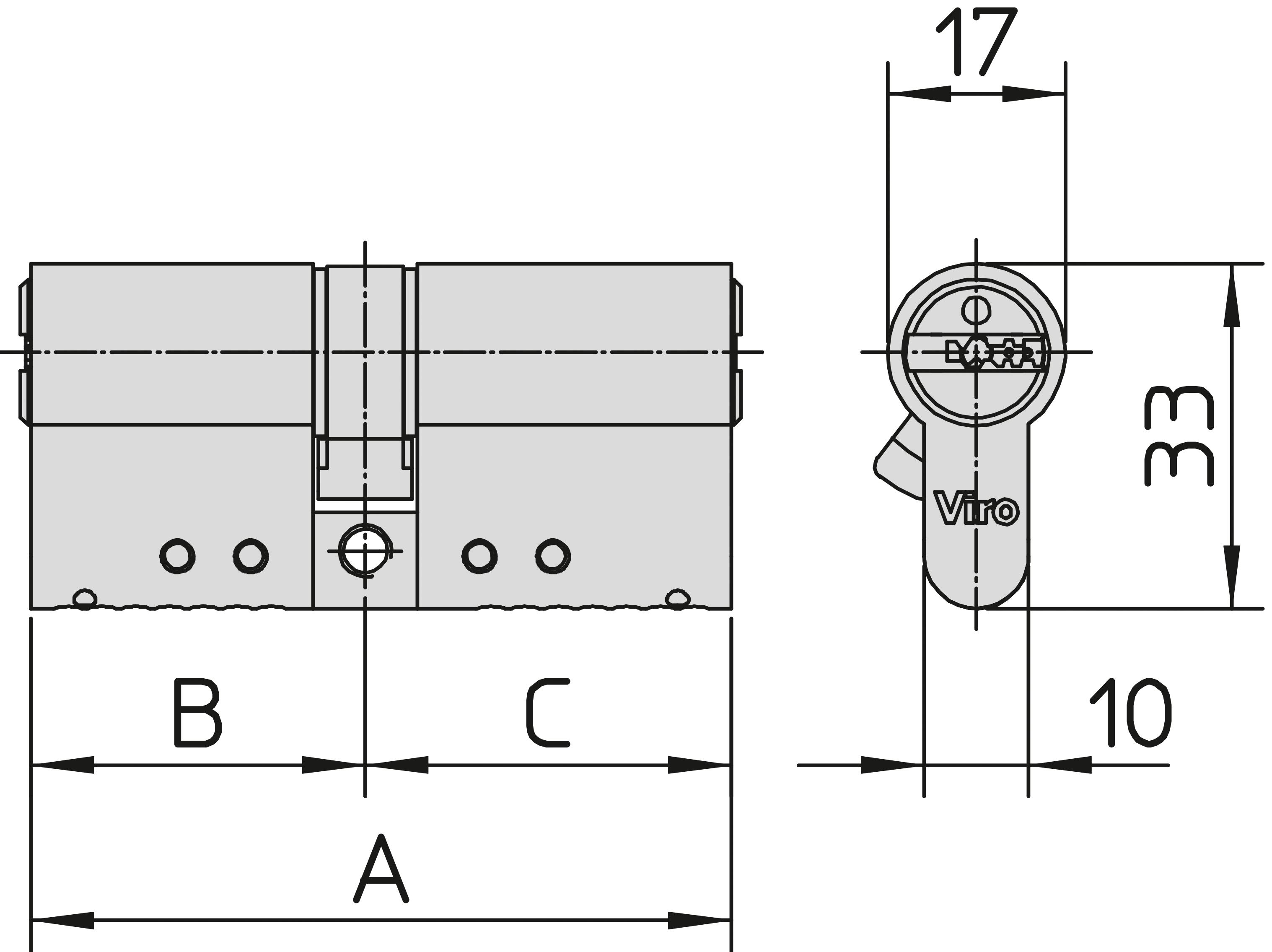 Viro 835.32.32.09 Cilindro Europeo da infilare di sicurezza Palladium certificato UNI EN 1303