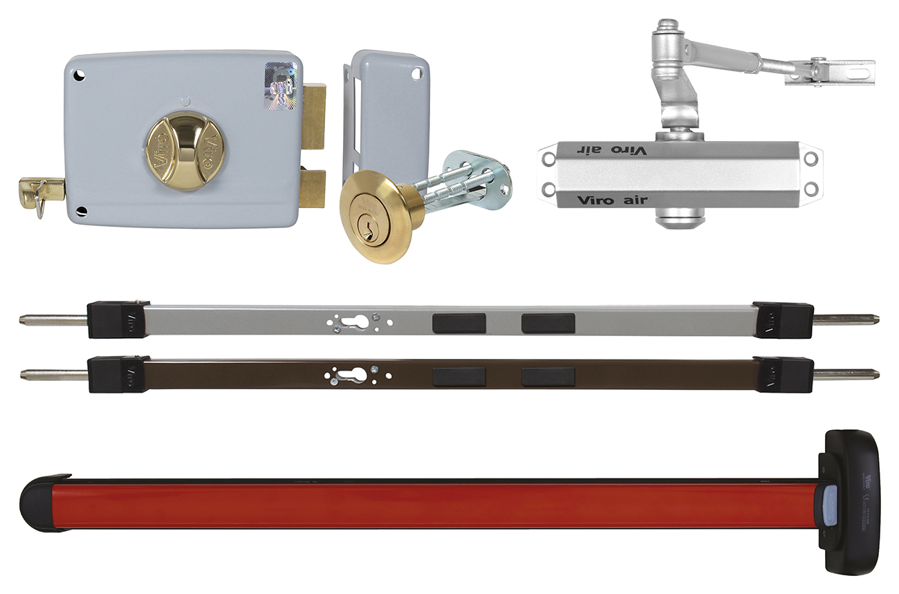 Rim door locks, spranga, doorclosers, panic devices and cylinders
